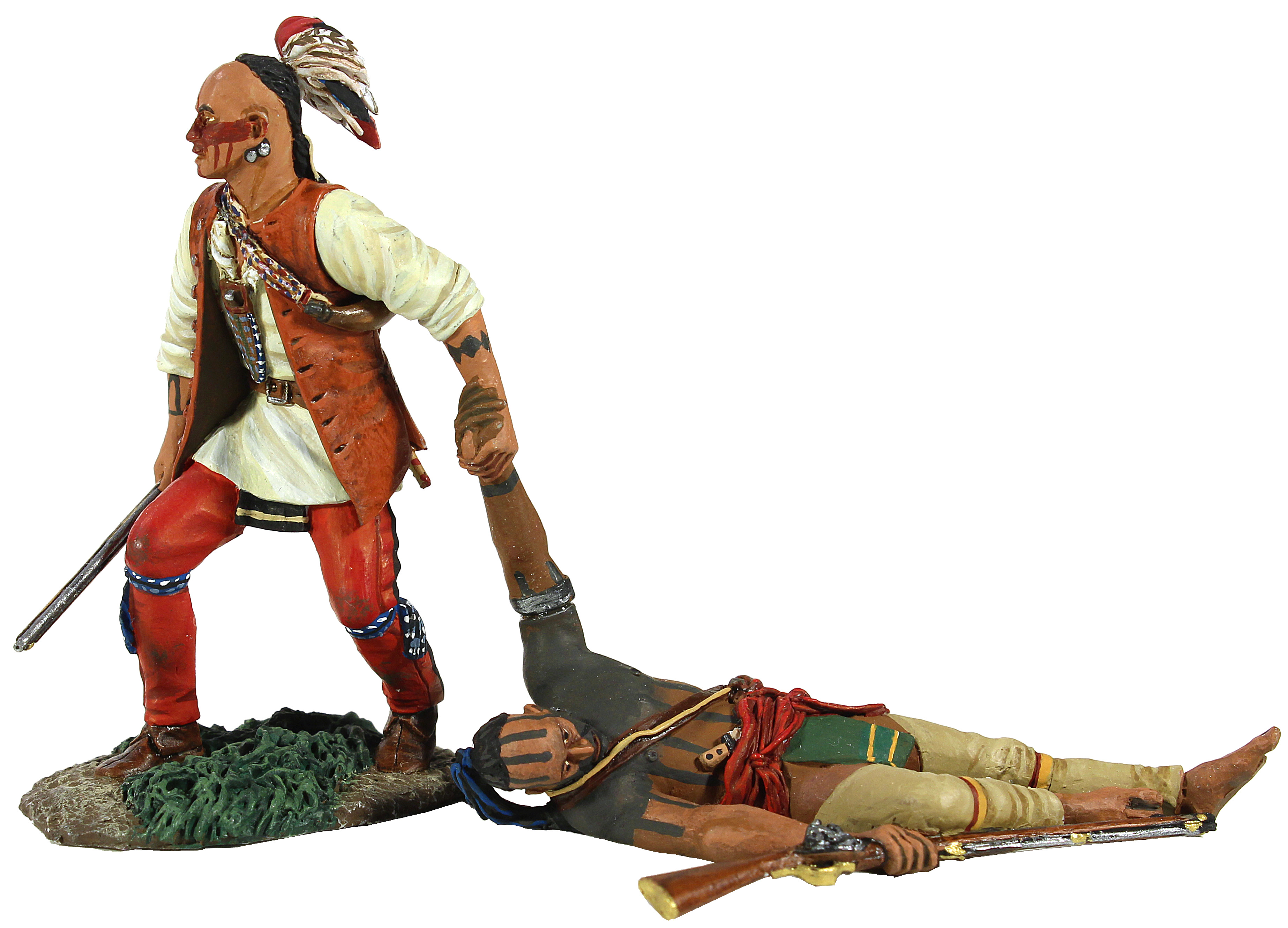 """No One Left Behind"" Eastern Woodland Indian Dragging Wounded Comrade Hand-to-Hand Set - 2 Piece Set"