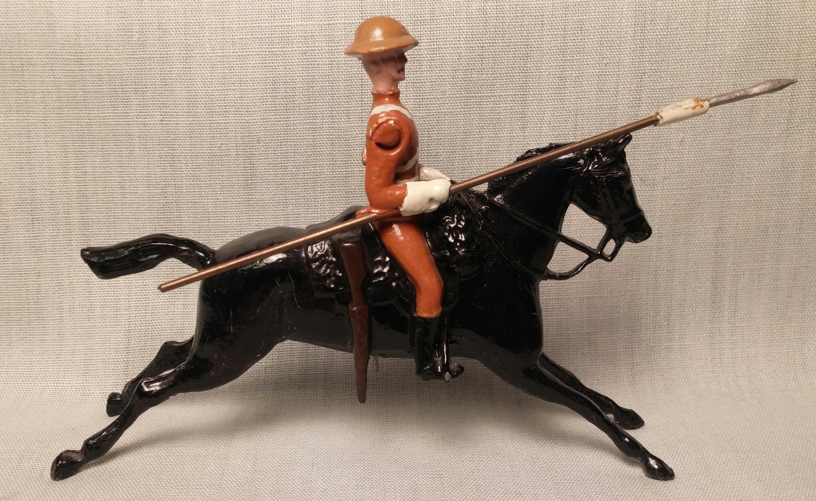 Full Stretch horse with rider.  This figure comes with a separate head of your choice from the heads series and a (right) arm of your choice from the arms series.