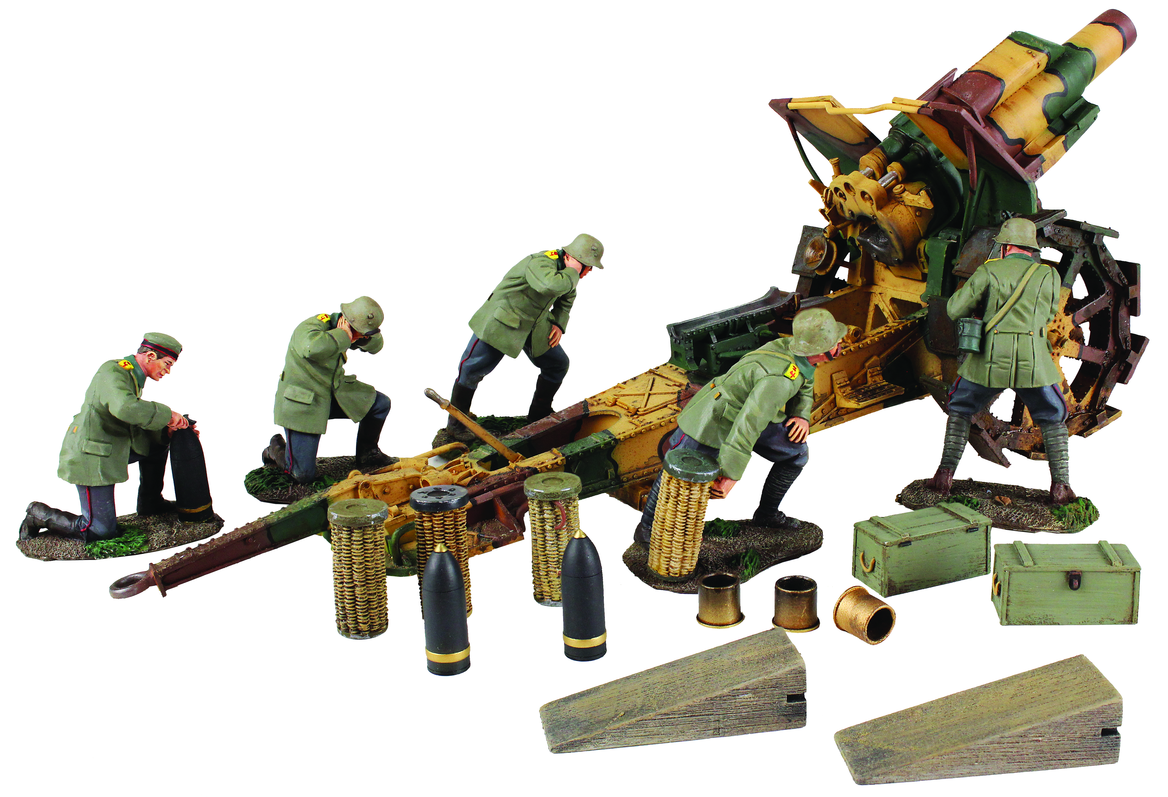 1916-18 German 210mm Howitzer and 5 Man Crew  - 6 Piece Set and Accessories Limited Edition of 400 Sets