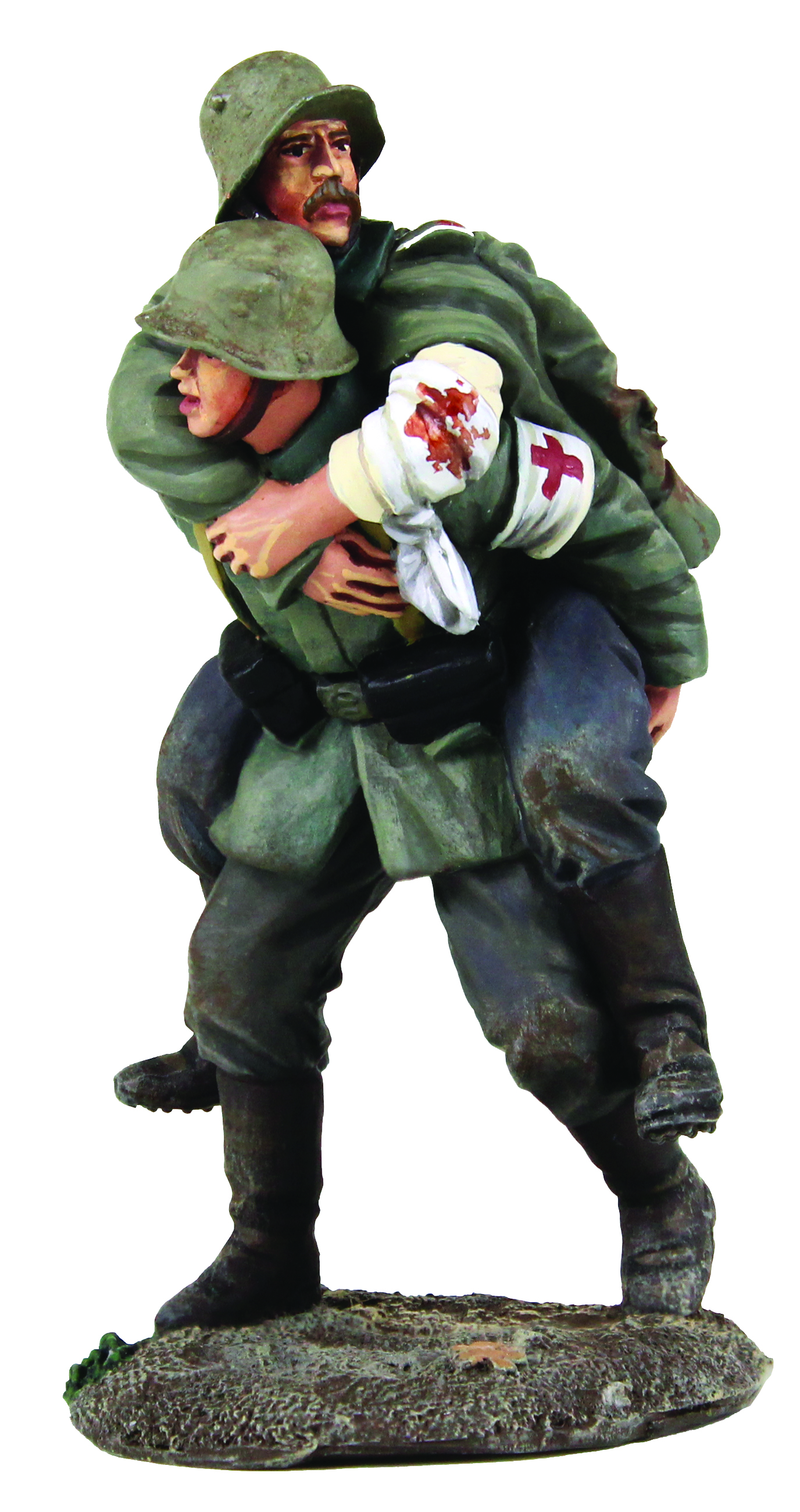 1916-18 German Medic Carrying Wounded Soldier - 2 Piece Set
