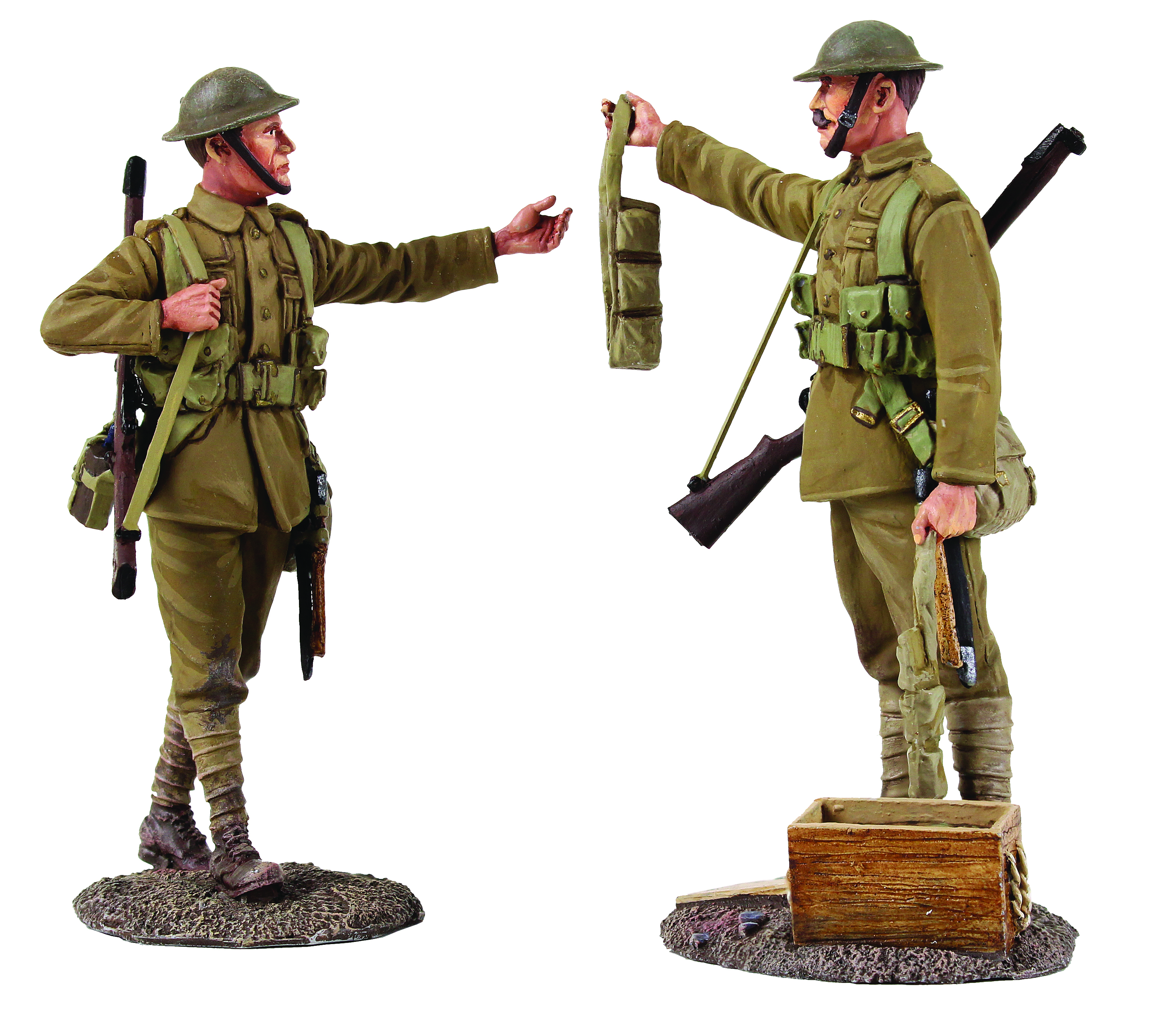 """""""Going Up The Line"""" British Infantry Handing Out Ammo, 1916-18 - 2 Piece set Limited Edition of 500 sets"""