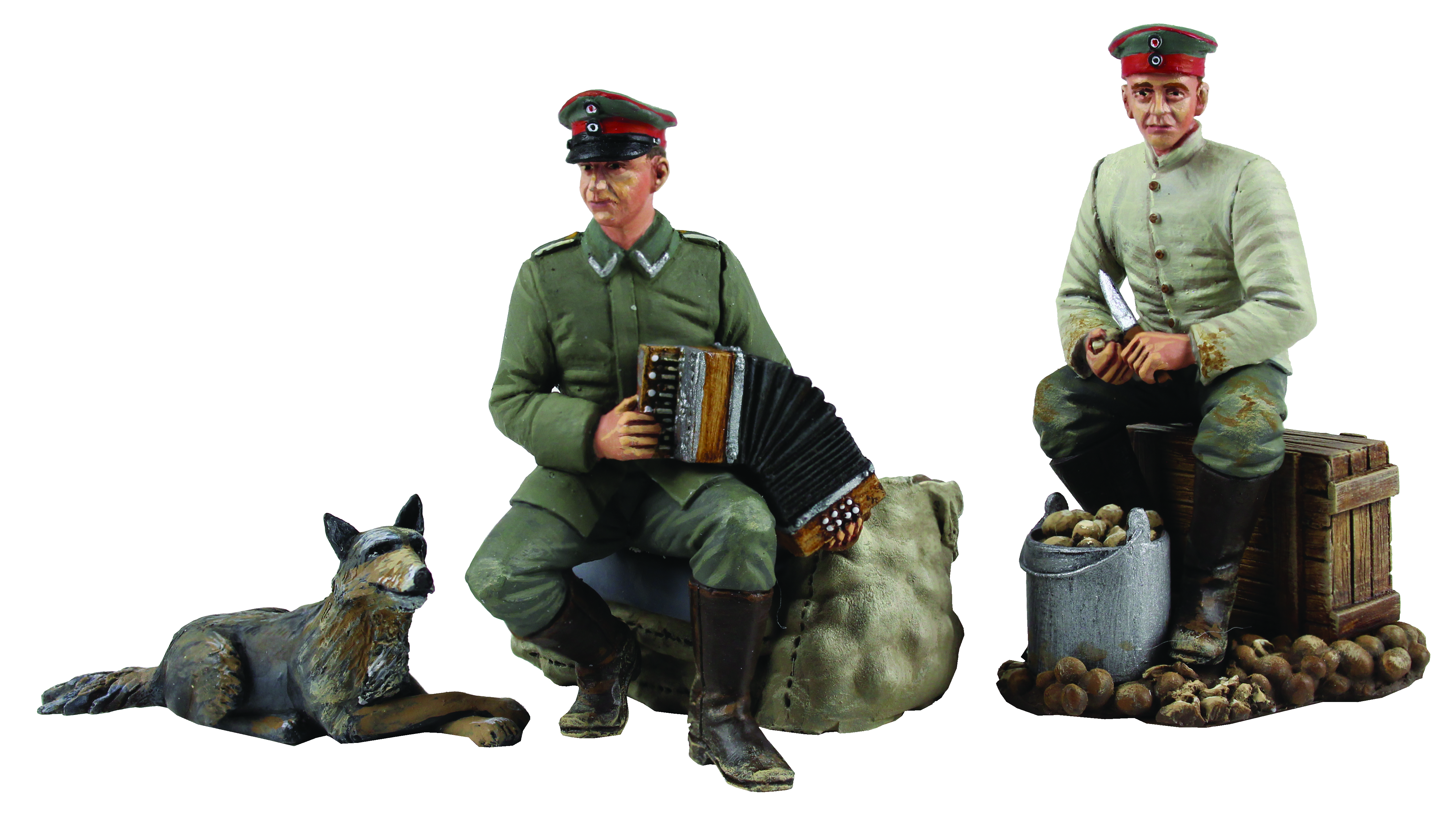 """""""Music to Peel By"""" 1914-18 German Infantry Seated Peeling Potatoes and Seated Playing Concertina - 4 Piece Set Limited Edition of 400 Sets"""