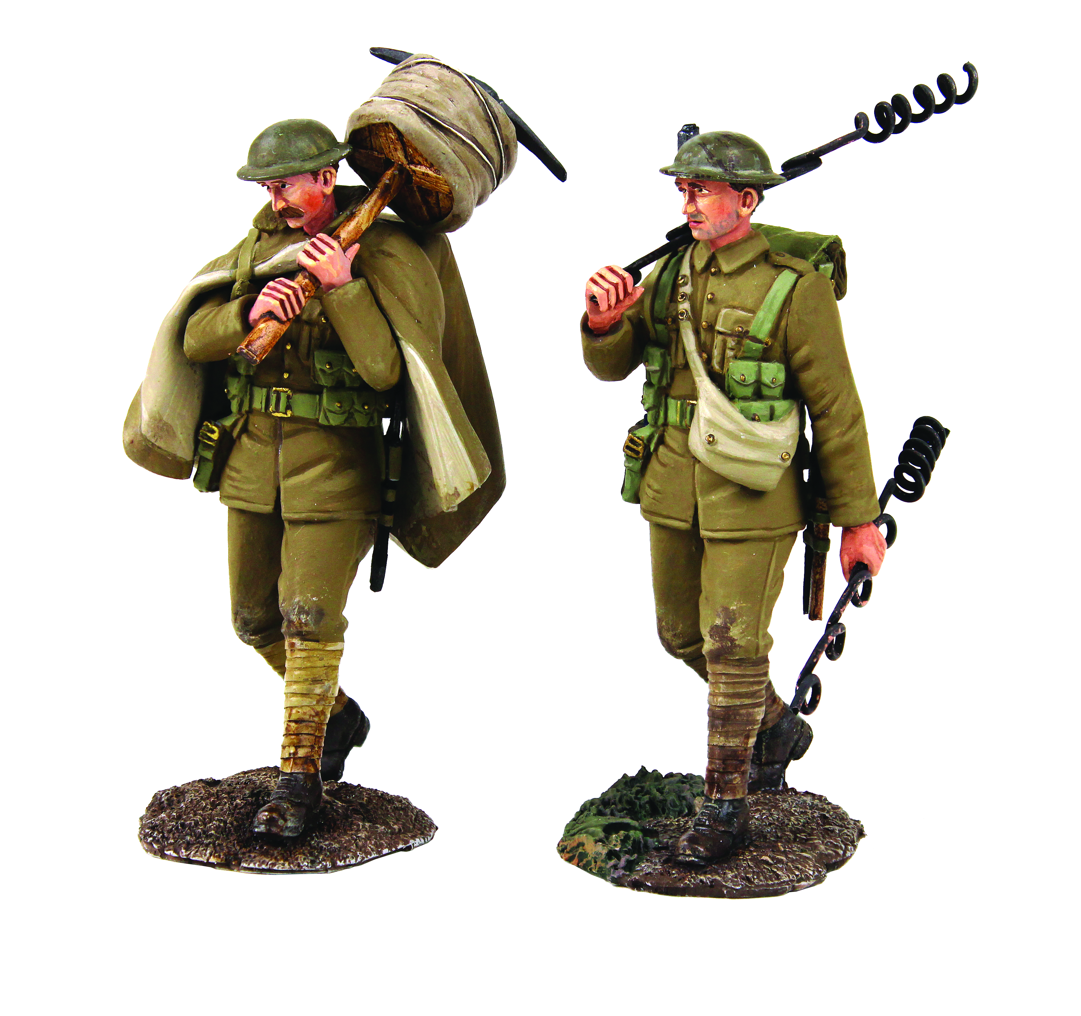 """""""The Work Party"""" Set No.2 - 1916-18 British Infantry with 'Pig Tails' and Walking with Barbed Wire Roll - 2 Piece Set Limited Edition Set of 400"""