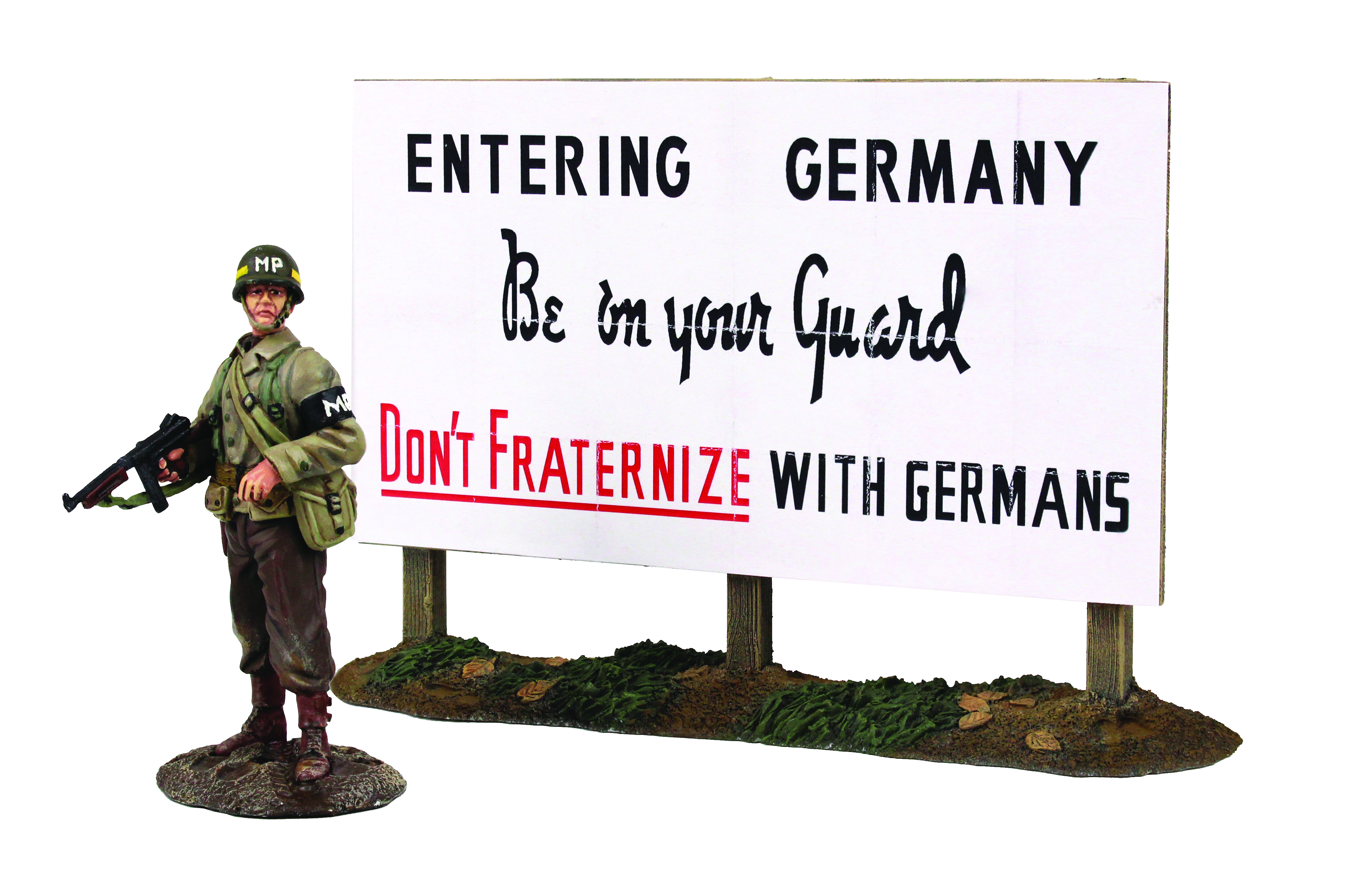 U.S. Military Policeman Standing with Thompson and Warning Sign, Winter 1944-45 - 2 piece set