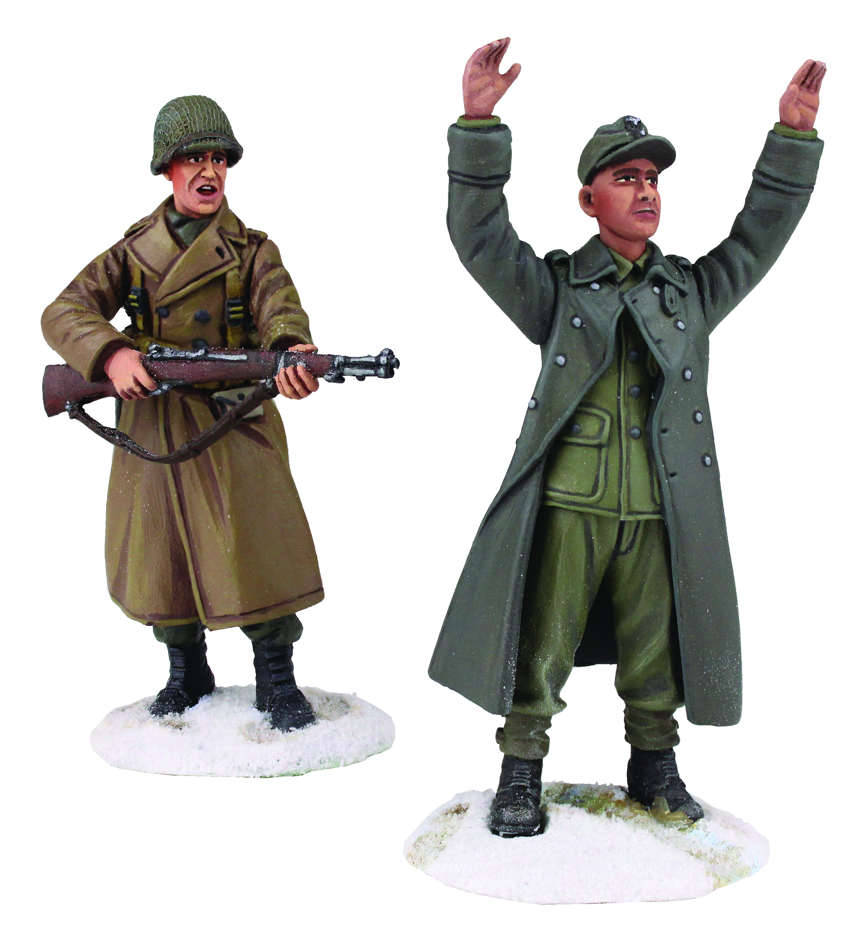 """""""Keep Your Hands Up Kid"""" - U.S Infantry Wearing Overcoat with M-1 Garand and Young German Prisoner with Hands Up - 2 Piece Set"""
