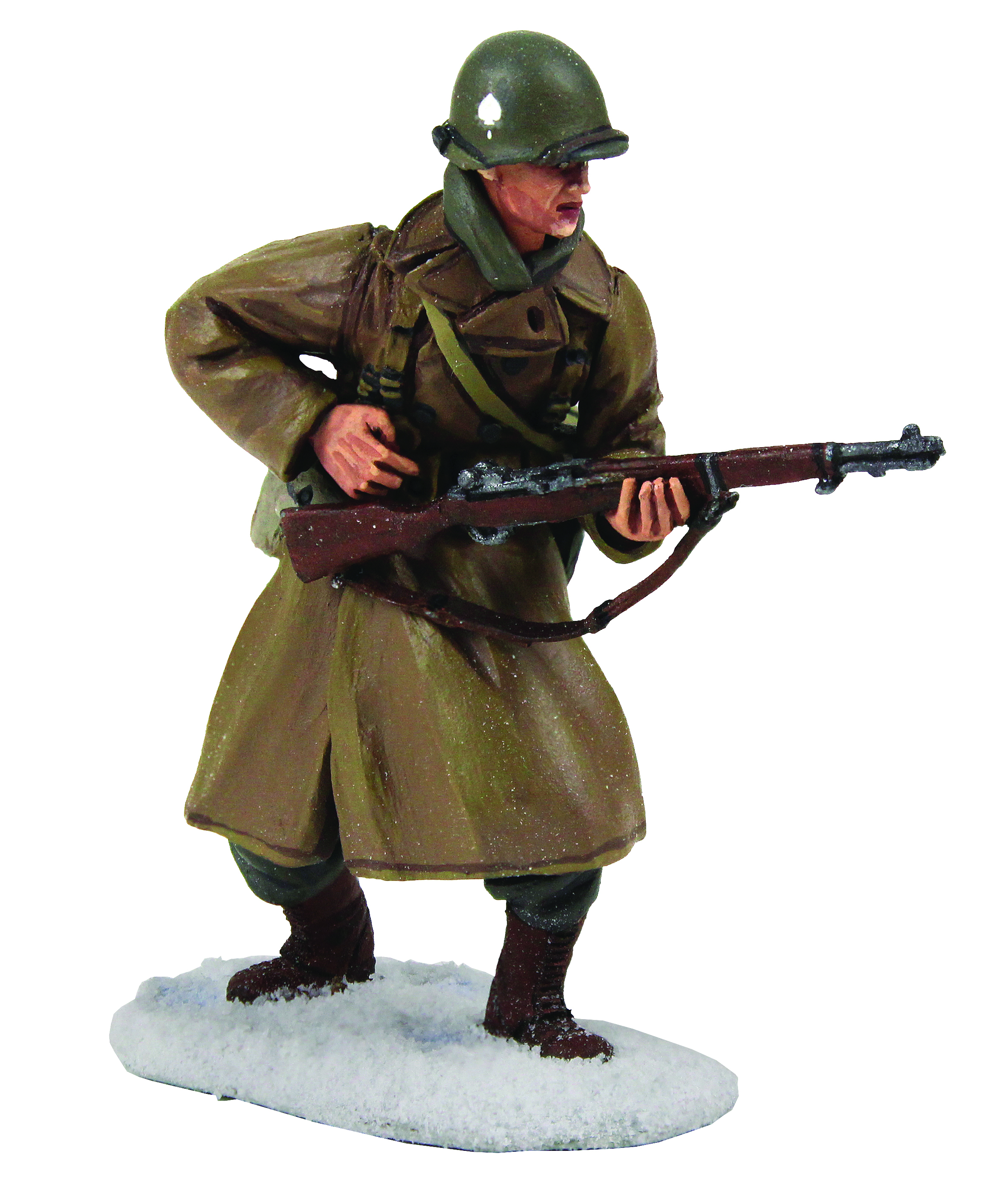 U.S 101st Airborne Infantry Wearing Overcoat Reaching for Ammo, Winter 1944-45 - 1 Piece Set in Clamshell Pack