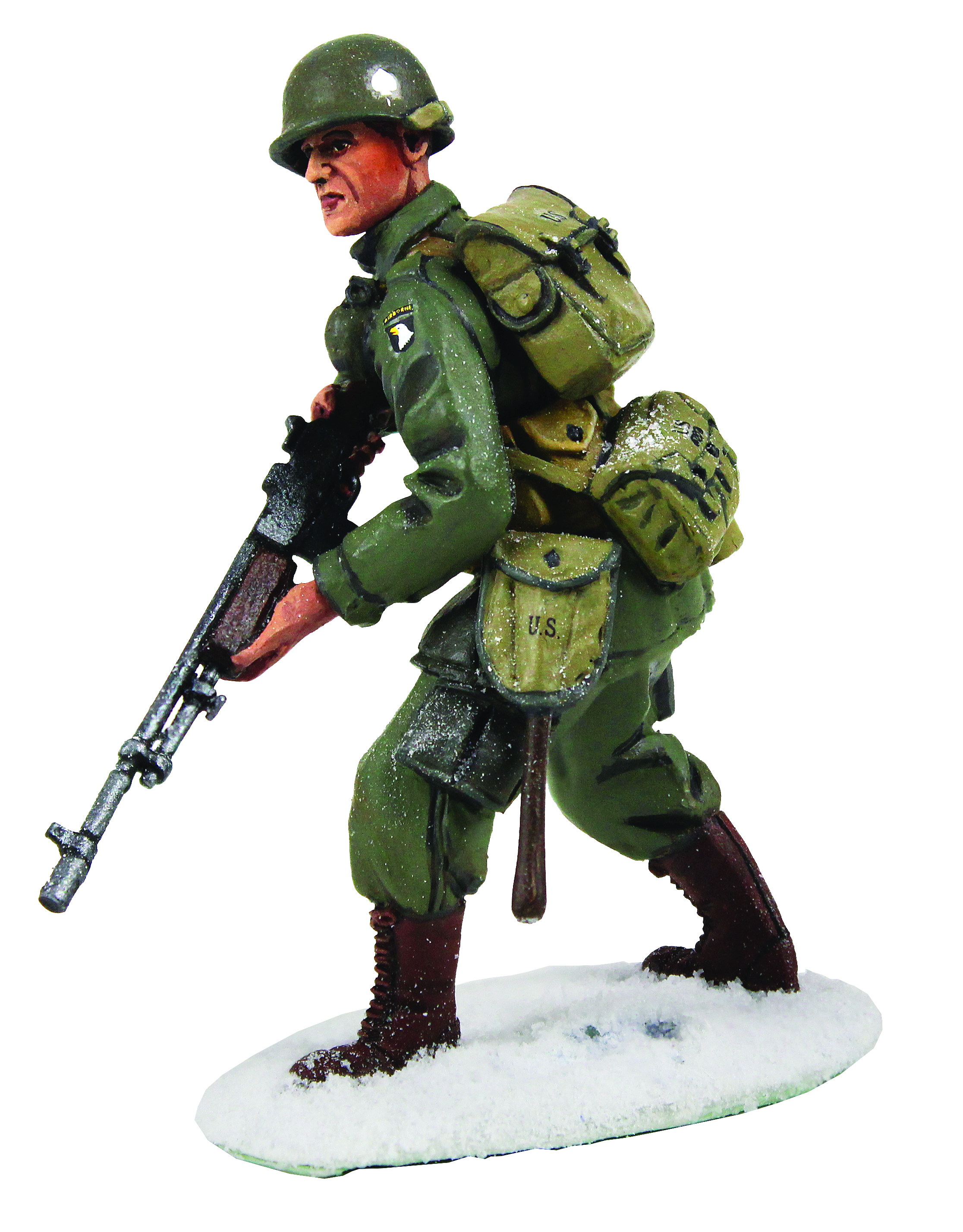 U.S 101st Airborne Infantry in M-43 Jacket Advancing with BAR, Winter 1944-45 - 1 Piece Set in Clamshell Pack