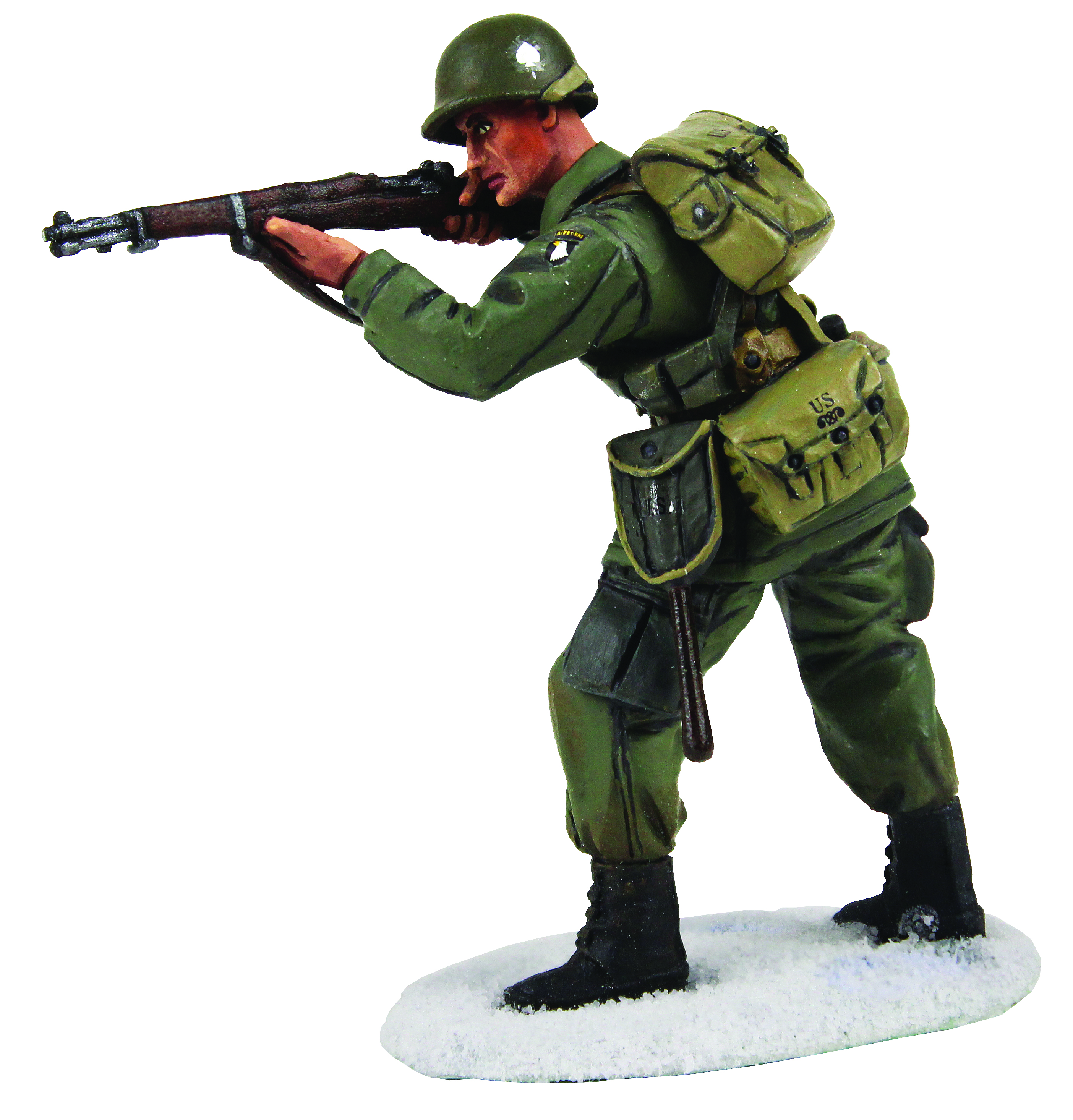 U.S 101st Airborne Infantry in M-43 Jacket Standing Firing M-1 Garand, Winter 1944-45 - 1 Piece Set in Clamshell Pack